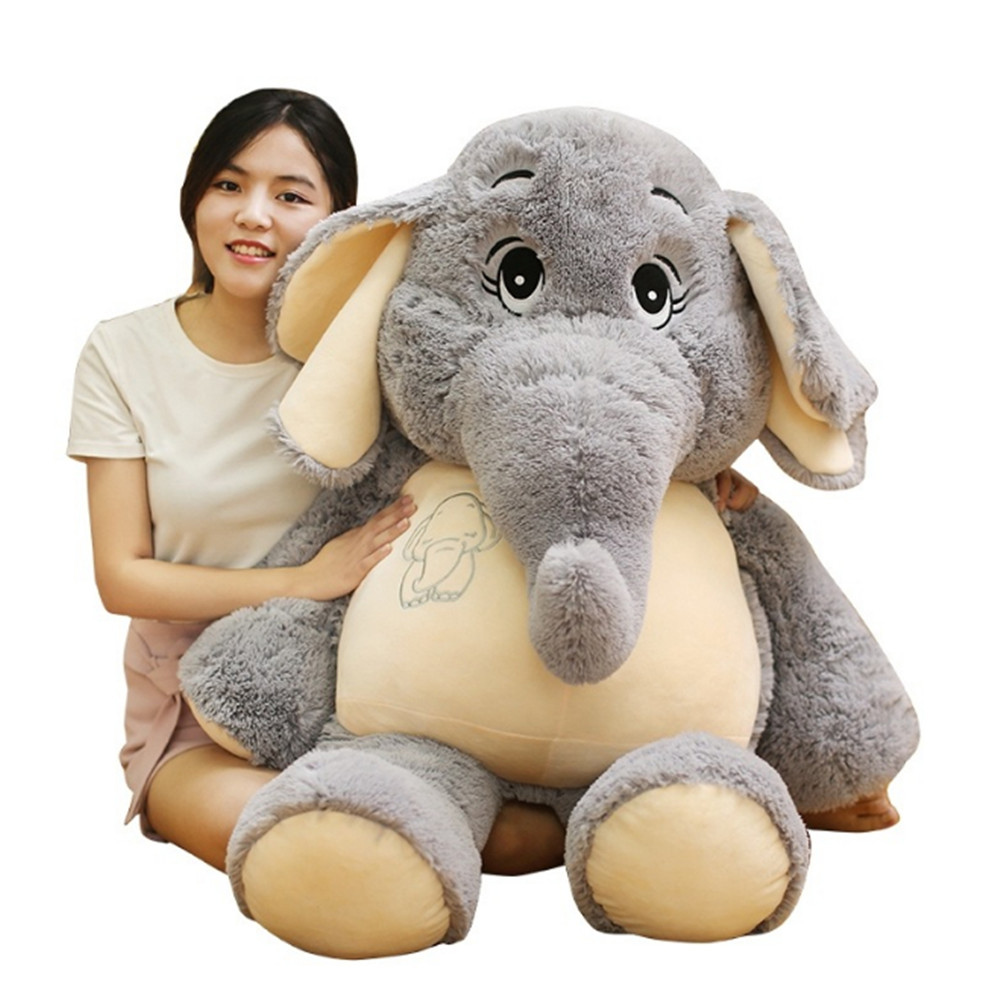 Fancytrader Cuddly Soft Animal Elephant Plush Toy Giant Stuffed Cartoon Elephants Doll Pillow Baby Gift Decoration fancytrader seal plush baby doll large stuffed cartoon animal arctic seal toy white bear kids gift pillow 39inches 100cm