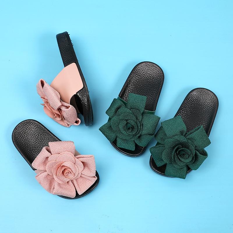 Summer Girls Slippers Comfortable Non Slip Flower Home Beach Shoes For Toddler Girls Flip Flops Barefoot Shoes in Slippers from Mother Kids