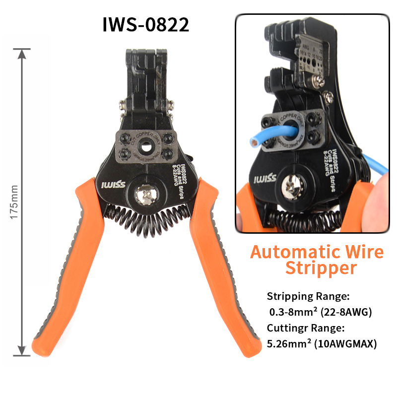 IWS-0822/HS-700B Automatic Stripping Pliers Wire Stripper Multi-function Electrician Wire Cable Cutter Multifunctional Tool