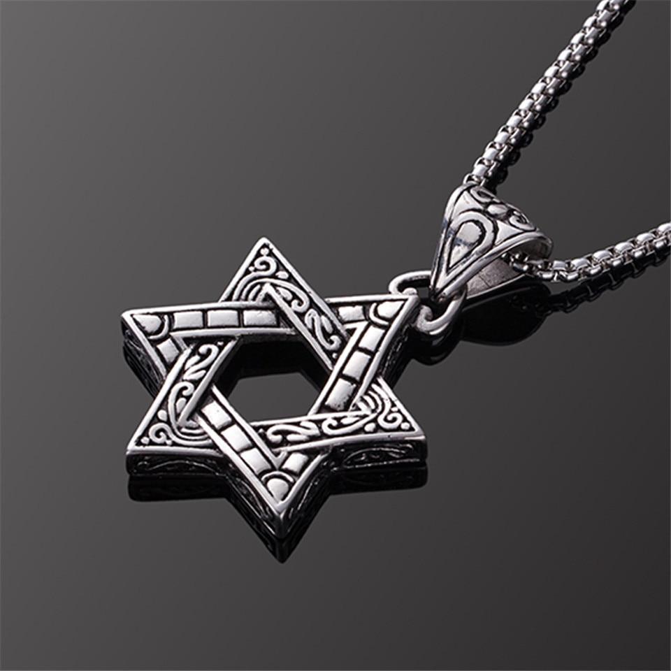 373d84e55a68 Collar de tótem de la estrella de los hombres de david indios, collares y  colgantes de la cadena de acero inoxidable del hexagrama judío de israel