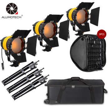 Projecteur de LED ALUMOTECH 3x80 W avec puissance de montage en V + Kit StandX3 + SoftboX3 pour caméra de Studio prise en charge de la photographie vidéo