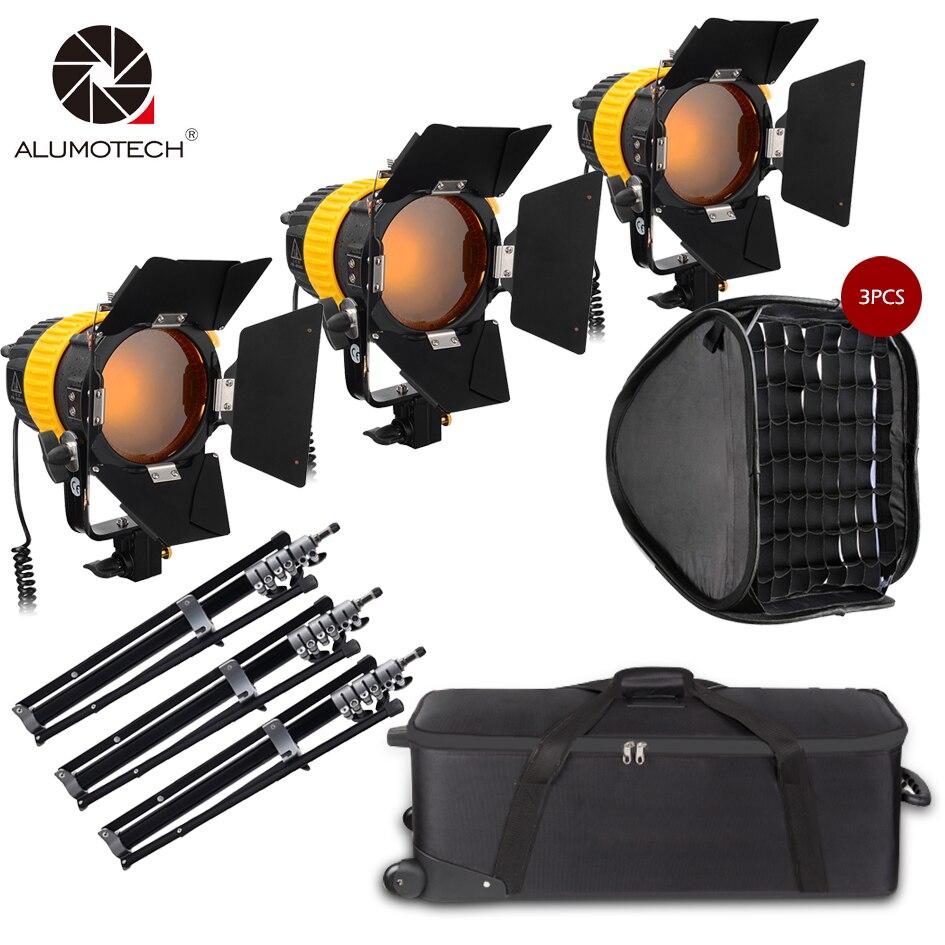 Projecteur de LED ALUMOTECH 3x80W avec puissance de montage en V + Kit StandX3 + SoftboX3 pour caméra de Studio prise en charge de la photographie vidéo