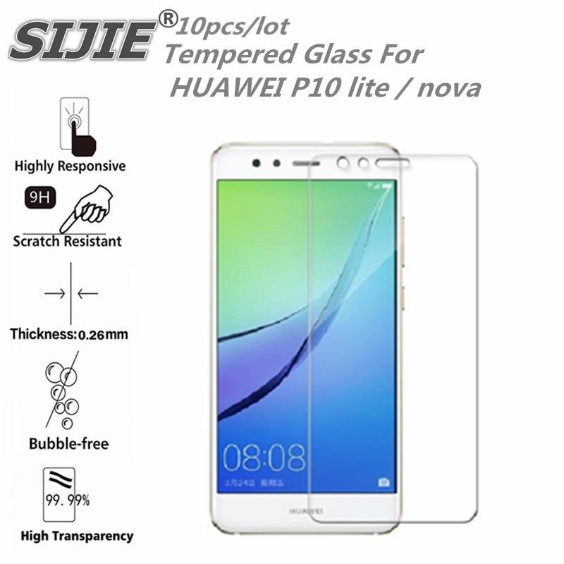 10 pièces verre trempé pour HUAWEI P10 lite G10 WAS-TL10 nova écran housse de protection 5.2 pouces smartphone étui trempé 9 H sur