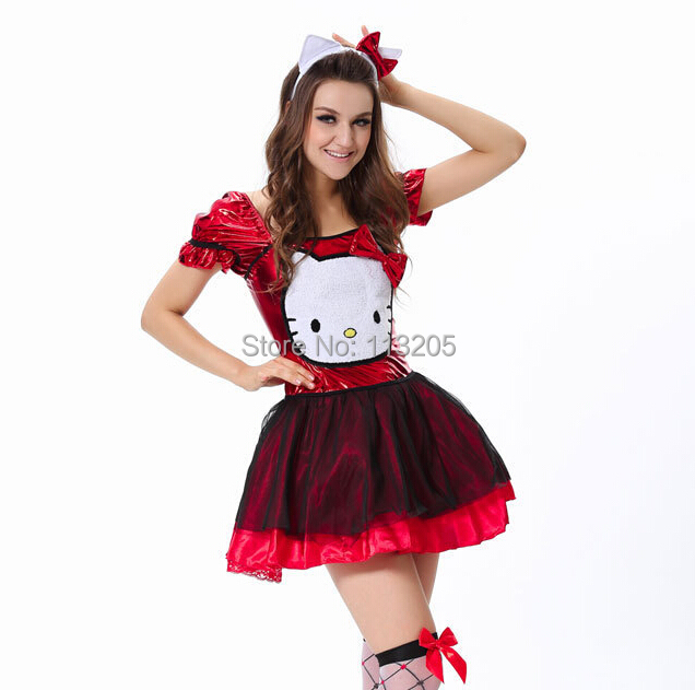 2014 adult sexy women cosplay maid costume red sequin dress blue hello kitty costume halloween clothes in sexy costumes from novelty special use on - Halloween Hello Kitty Costume