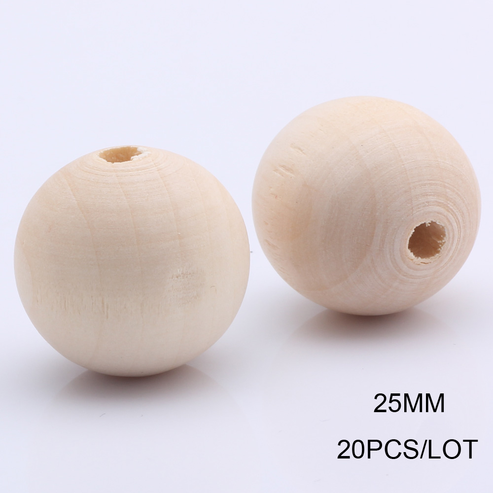 Natural Untreated Plain Round Wood Beads DIY Jewelry Making Crafts Dia.4-20mm 4