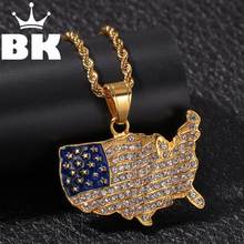 THE BLING KING Custom Stainless steel Continental contour of the United States Necklace Hip Hop Full Iced Out Cubic(China)