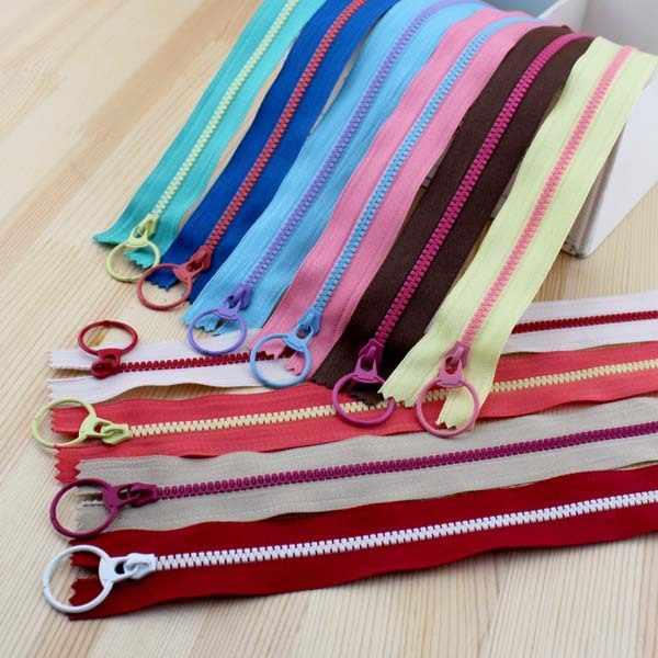 2015 Новый продукт! Свободное весло контрастного цвета молния из смолы подъемное кольцо quoit собачка для молнии 30 см Смешанные 10 цветов DIY ручная сумка