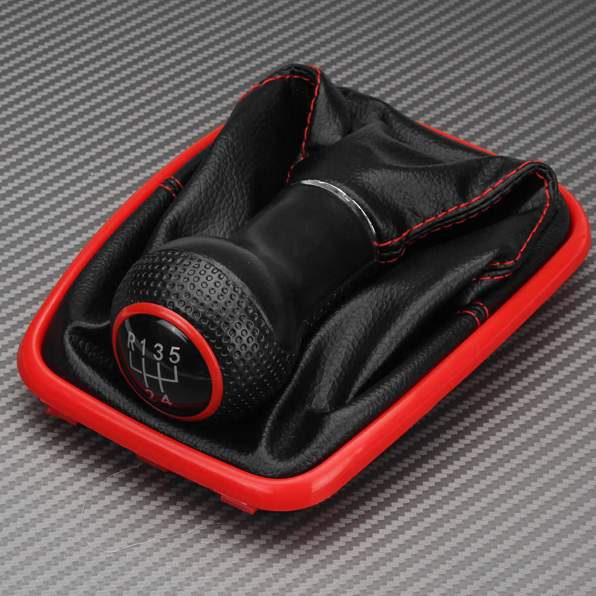 5 Speed Car Gear Shift Knob With Gaiter Boot Red Line Protective Cover Anti-dust Cover for Seat Leon for Toledo 1999 2000 2001