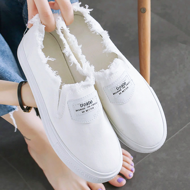 Girls Canvas Shoes Fashion Slip-on White Sneakers Solid Wear-resistant Comfortable Casual Sneakers Size 35-40