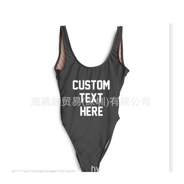 CUSTOM TEXT One Piece Swimsuit Women Swimwear 2018 Sexy Bikinis Bodysuit  Black Bathing Suit High Cut 28b5c0caa