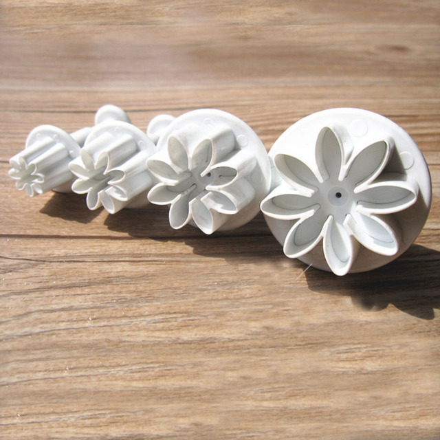 4pcs Set Daisy Flower Cookie Sunflower Plunger Cake Decorating Tools Cupcake Kitchen Fondant Accessories Mold Stand