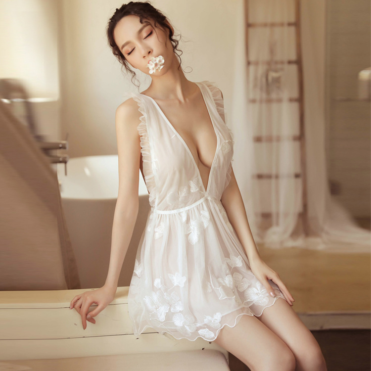 Sexy White Lingerie Women Lace Hollow-out Night Dress See Through Sleepwear Home Clothing Night Gown Summer Style 2019