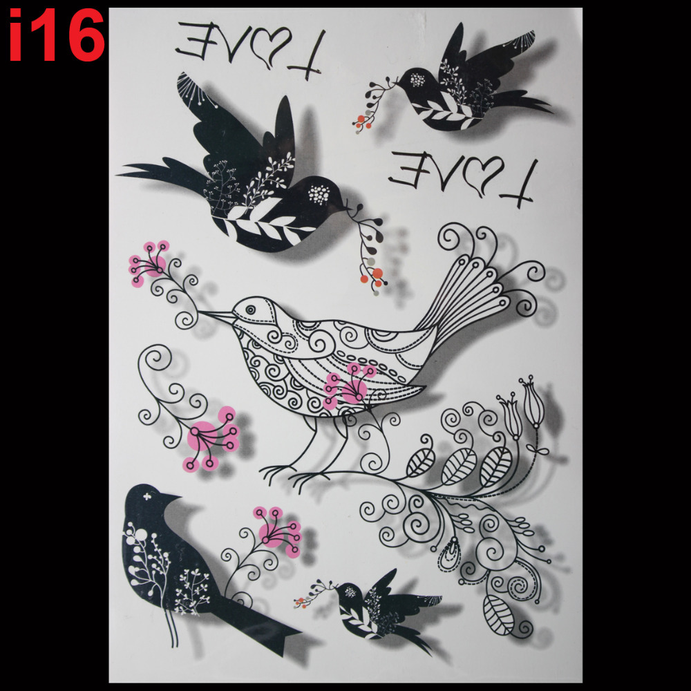 Flash tattoos women temporary tattoo 3D tattoo bird pattern <font><b>sex</b></font> products body art stickers free shiping image