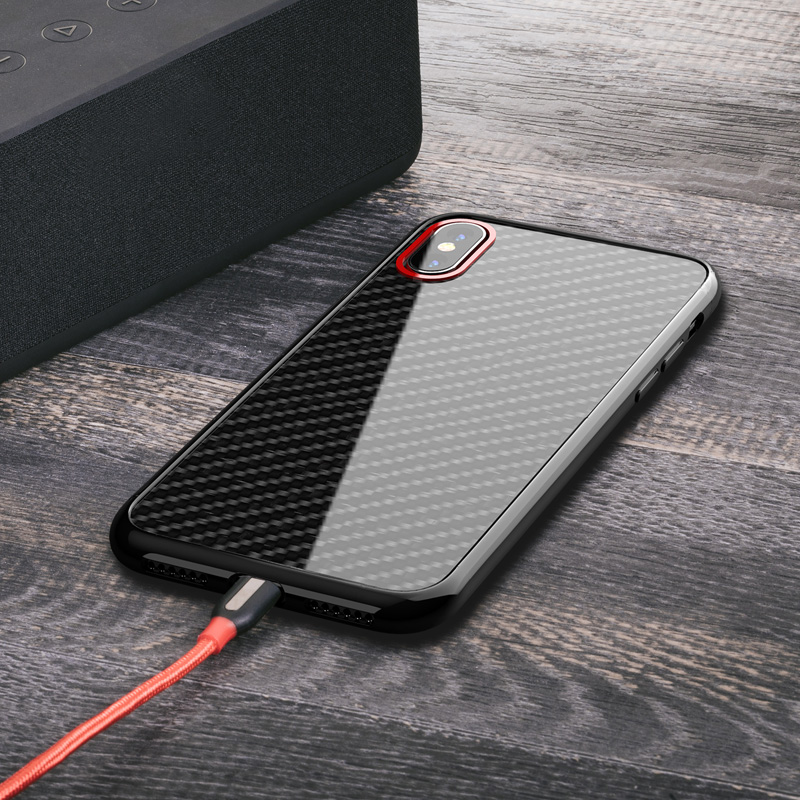 For iPhone 6 7 8 X Ultra Thin Real Carbon Fiber Case Cover cover casing