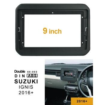 2Din 1DIn de CD de coche DVD de Audio racor adaptador Dash Trim Facia Panel 9 pulgadas para SUZUKI IGNIS 2016 + doble Din reproductor de Radio