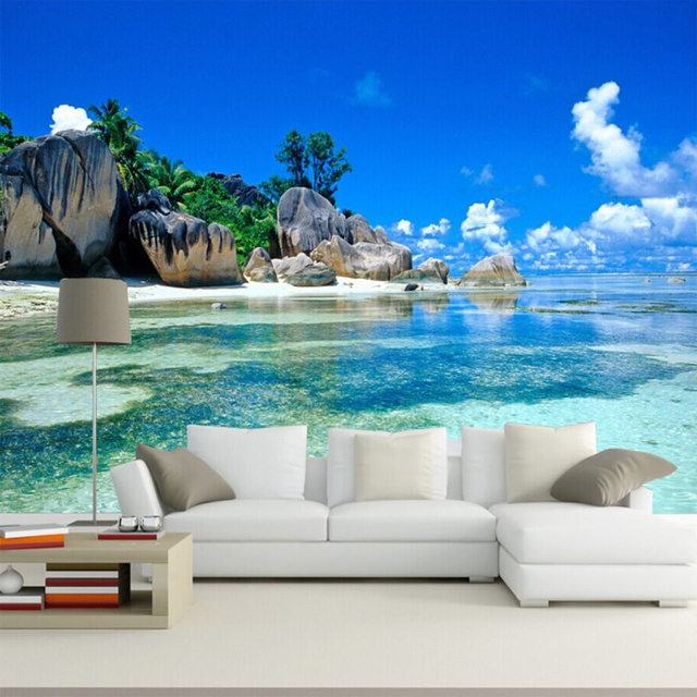 Amazing Custom Mural Wallpaper 3D Ocean Sea Beach Photo Background Non Woven  Wallpaper For Bedroom Living