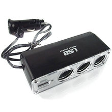 New 3 Way Socket Auto Car Cigarette Lighter Splitter USB Plug Adapter Charger DC+USB Vehicle Electronics Accessories