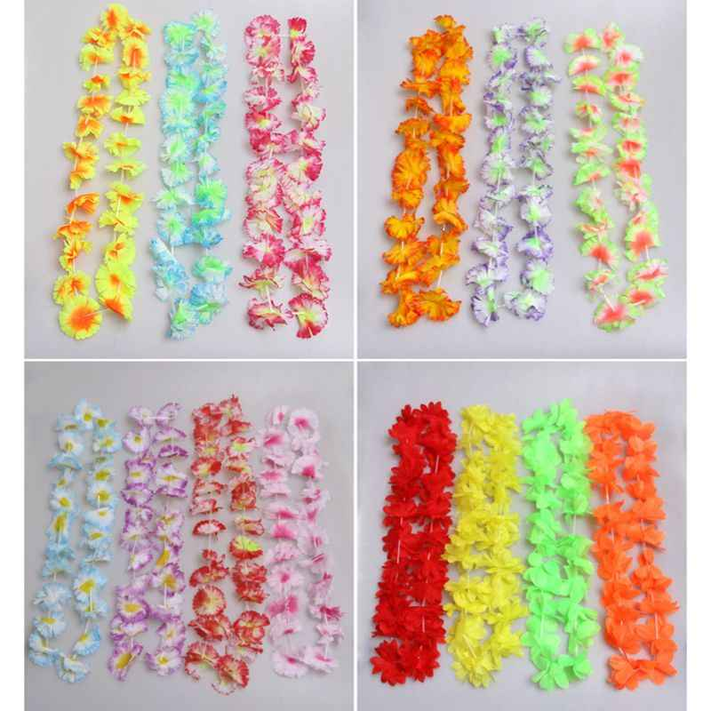 50 Counts Tropical Bright Colored Artificial Flowers Hawaiian Leis Necklace Party Favors Luau Party Favors Holiday Beach Decor