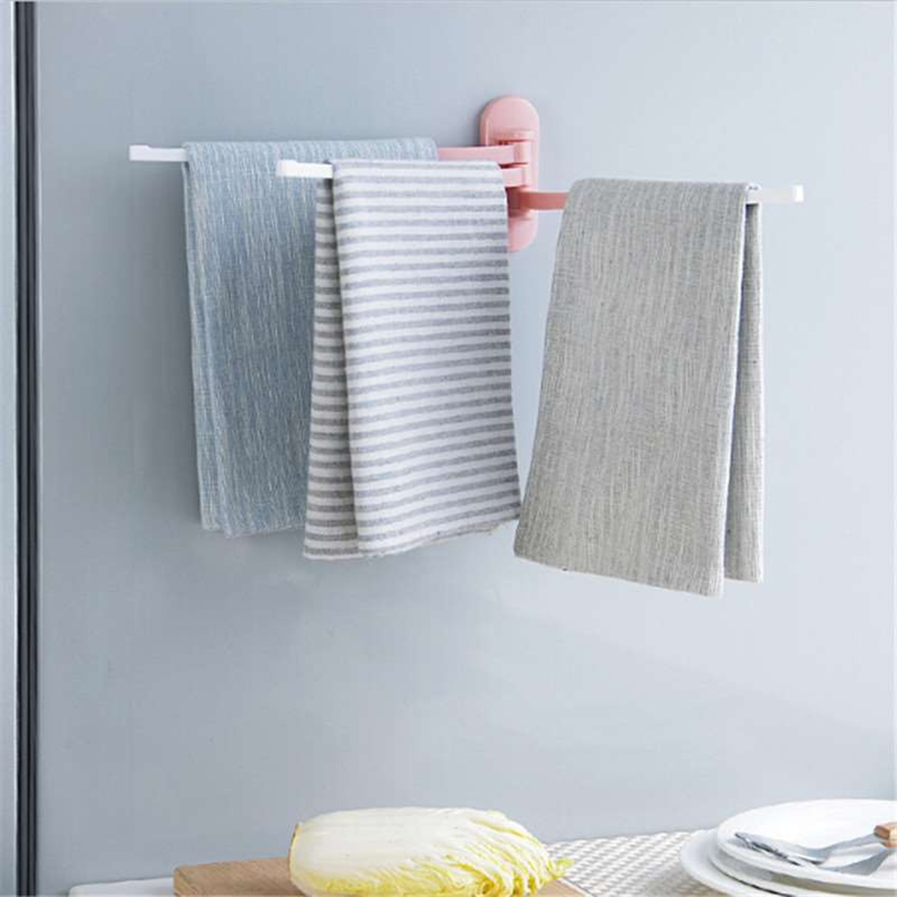 Wall Stick Rotatable Storage Bracket Plastic Bathroom Kitchen Towel ...