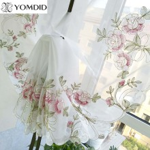1PC New Rose Embroidery Curtain High Quality Ribbon Roman Curtain Home Wave European Living Room Kitchen Balcony Voile Curtain