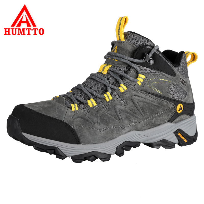 HUMTTO Men's Hiking Shoes Thermal Outdoor Shoes Pig Nubuck Leather Waterproof Trekking Shoes Anti-Slippery Mountain Sneakers humtto new hiking shoes men outdoor mountain climbing trekking shoes fur strong grip rubber sole male sneakers plus size
