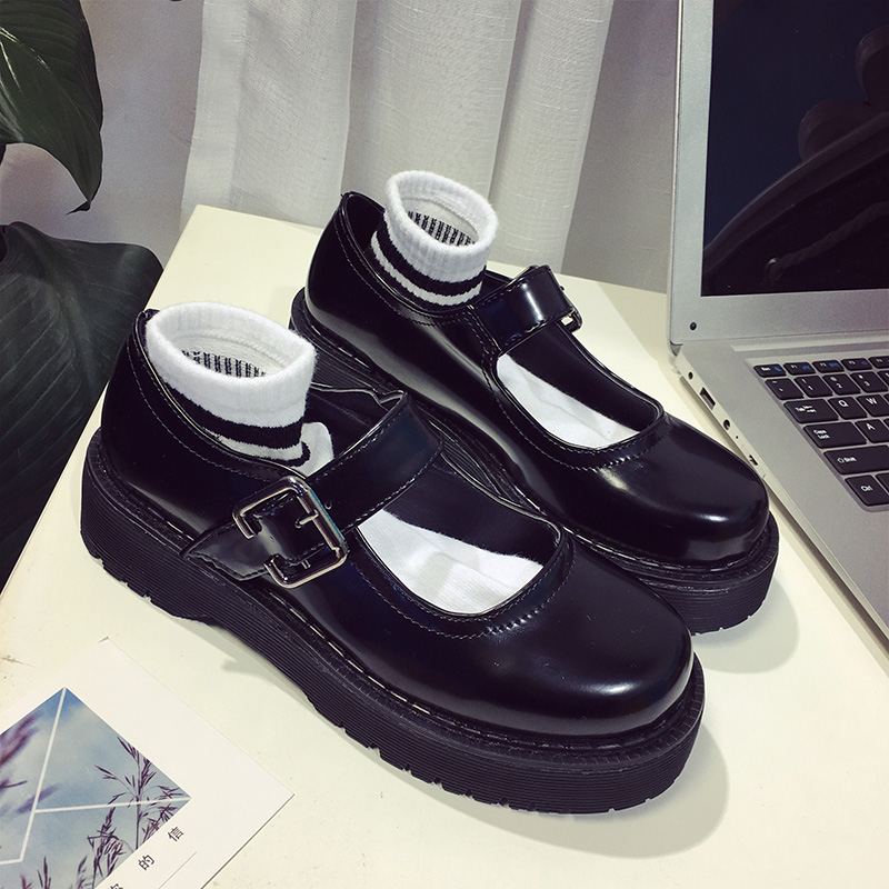 2019 Spring Japanese Retro Round Head England Shoes Thick Bottom Student Doll Shoes Sen Female Wild Casual Shoes.