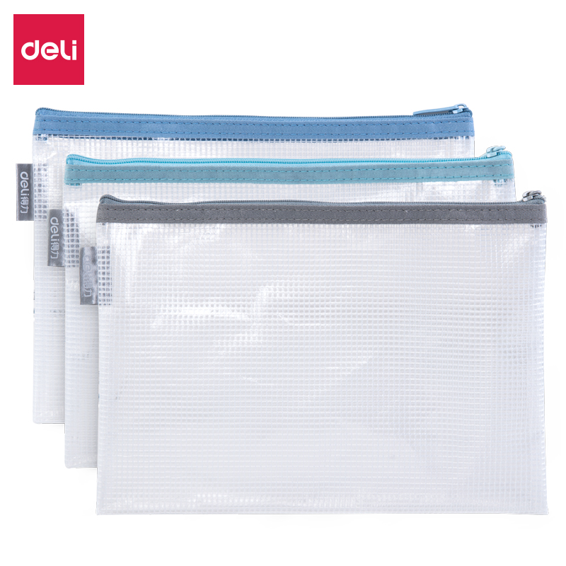 Deli 1PCS Office Zipper File Folder Bag A4 Transparent Storage Bag School Office Supplies Children Student Gifts Stationery