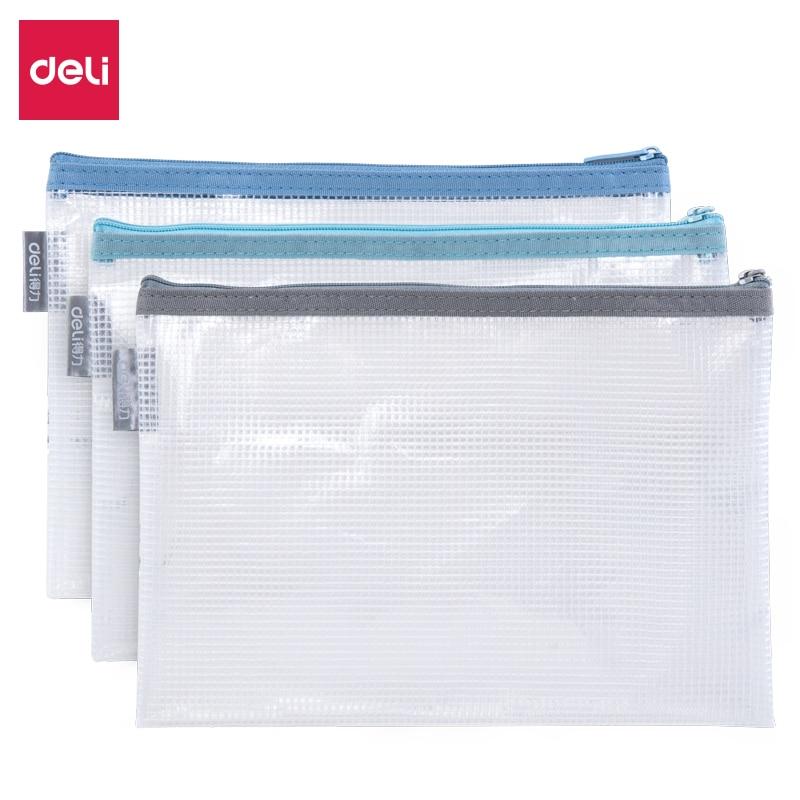 Deli 1PCS Office Zipper File Folder Bag A4 Transparent Storage Bag School Office Supplies Children Student Gifts Stationery