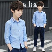Boys Shirts Solid Pattern Kids Fashion Cotton Shirt Long Sleeve 2018 Spring Autumn Children Brand Clothes Turn-Down Collar 4-15T girls plaid blouse 2019 spring autumn turn down collar teenager shirts cotton shirts casual clothes child kids long sleeve 4 13t