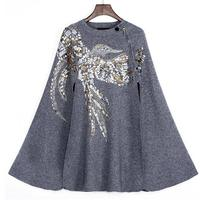 2017 new Women Cashmere Cloak Coat Bird Pattern Beading Sequins Shwal Loose Woolen Female Cape Bat Sleeves Wrap