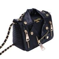 Unique Women Punk Motorcycle Biker Jacket Purse Chain Cross Body Shoulder Bag