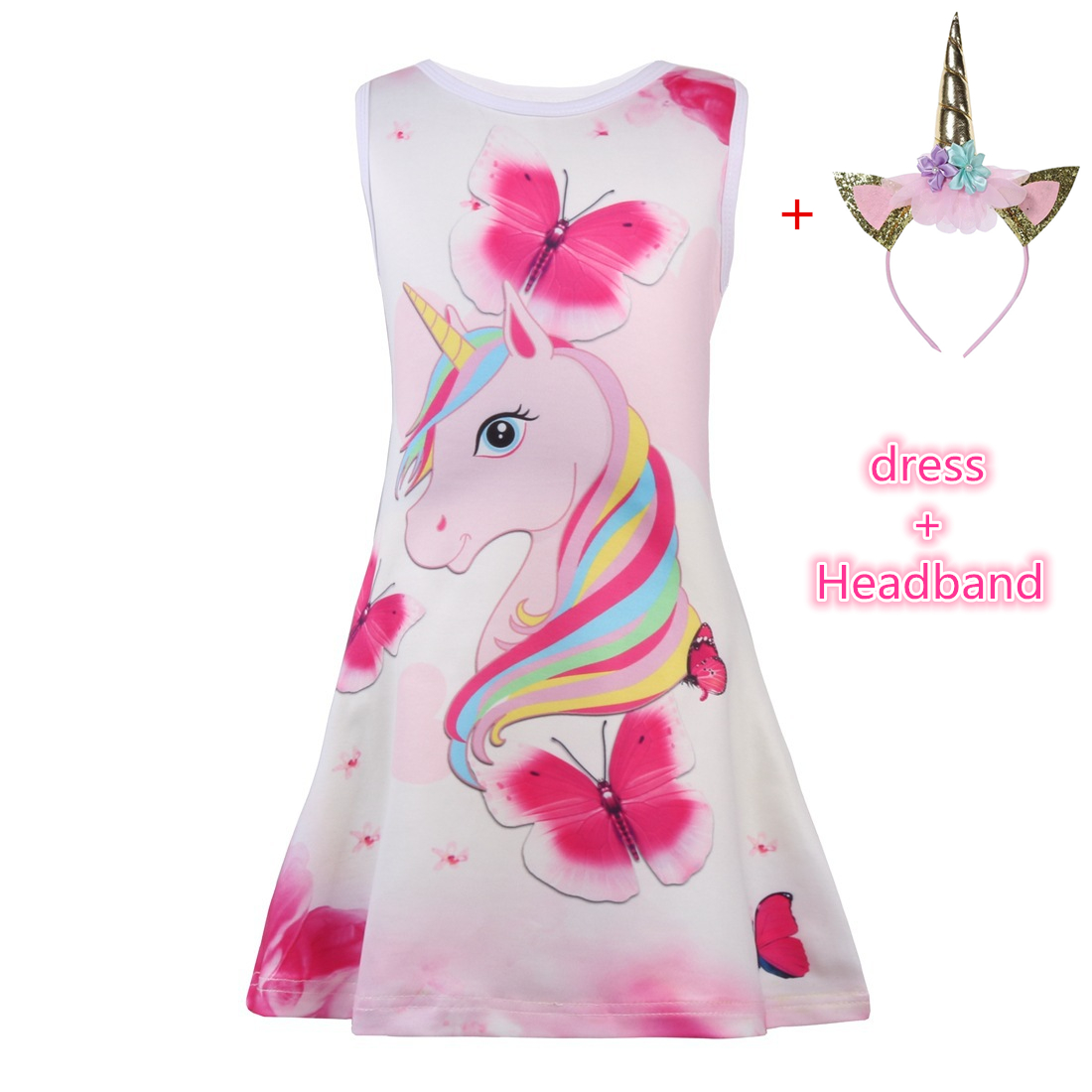 Sale Girls Unicorn Dress Children Summer Butterfly Cartoon Floral Party Birthday Sleeveless Dresses Kids Baby Princess ClothesSale Girls Unicorn Dress Children Summer Butterfly Cartoon Floral Party Birthday Sleeveless Dresses Kids Baby Princess Clothes
