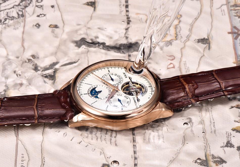 LIGE Brand Men Watches Automatic Mechanical Watch Tourbillon Sport Clock Leather Casual Business Wrist Watch Gold Relojes Hombre