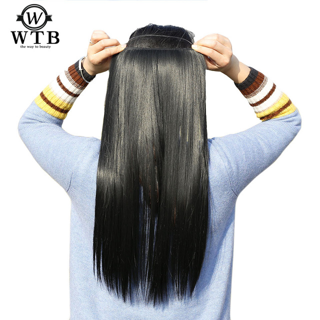 WTB Hair black red brown Invisible Wire No Clips in Hair Extensions ...