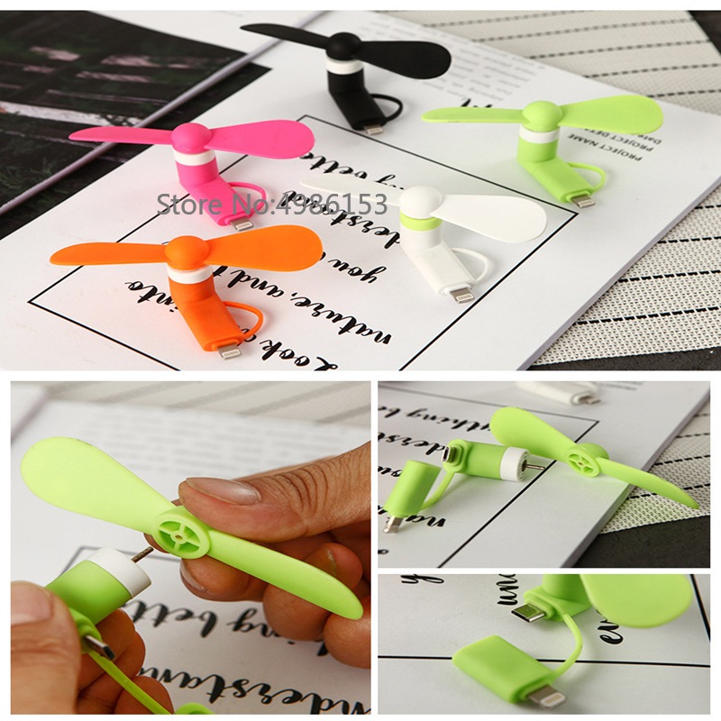 Mobile phone mini L-type summer cool low-power electric fan Android Apple 2 in 1 plug green material portable portable fan