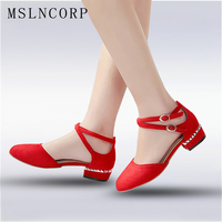 Plus Size 34 45 New Fashion Spring Summer Women Ankle Strap Sandals Square Heel Round Toe
