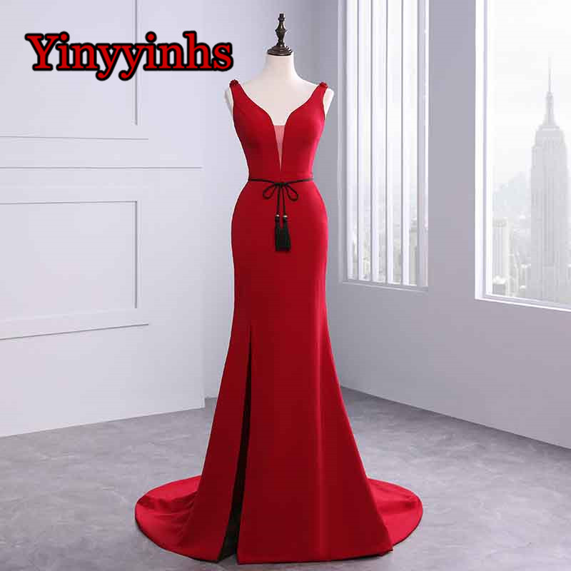 High Split Deep V Neck Evening Dresses Sweep Train Mermaid Formal Prom Gowns Beading Backless Formal Gown with Belt CG48