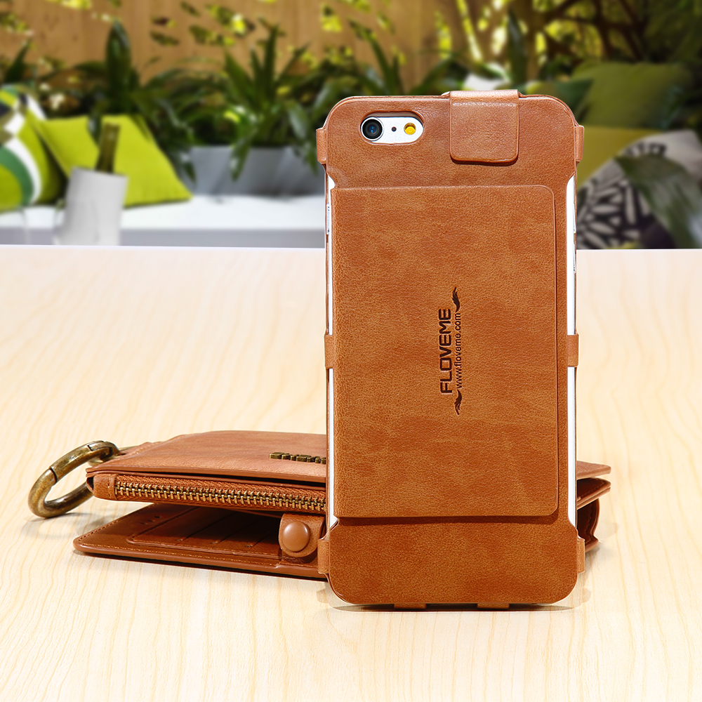FLOVEME Retro Wallet Case For iPhone 6 6S 7 PU Leather Cover Zipper ...