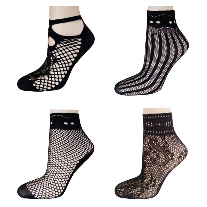 2017 Hot Selling Fashion Sexy Women Fishnet Mesh Socks Lady Girl Soft Black Lace Nylon Hosiery Thin Short Ankle Socks For Summer