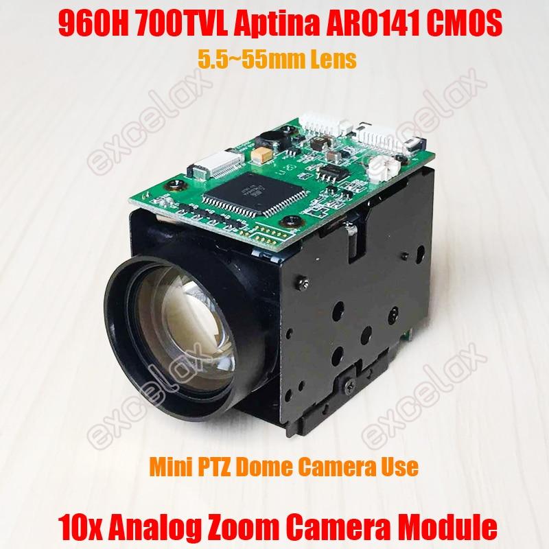 960H 700TVL Analog 10x Optical 1 4 Aptina AR0141 CMOS CCTV Zoom Camera Module Block IR