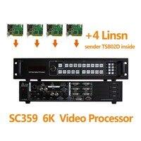 4 шт. Linsn TS802D отправки карты LINSN и светодиодный дисплей четырехъядерный процессор sc359 6 К многооконный видео Splicer для LED RGB экран
