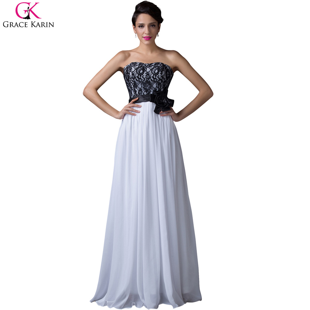 Black And White Prom Dress Grace Karin Strapless Chiffon Applique Lace Bow  Long Formal Gowns Elegant Special Occasion Dress Prom 99166a9ef