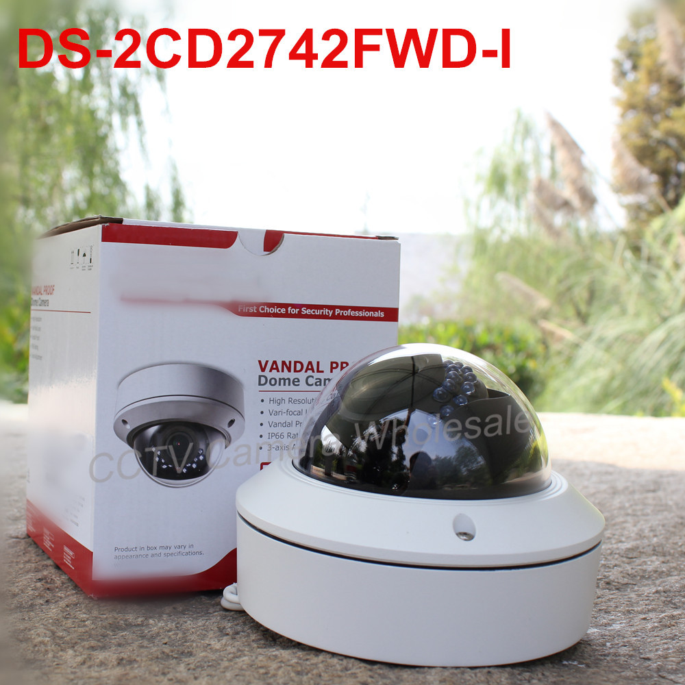 Free shipping DS-2CD2742FWD-I  English version 4MP WDR Vari-focal Dome Network ip Camera POE, vandal proof free shipping english version ds 2cd4132fwd iz 3mp 120db wdr smart ip indoor dome camera support 128g poe