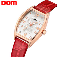 DOM Women Luxury Brand Watches Waterproof Style Quartz Leather Gold Watch Reloj Hombre Marca De Lujo