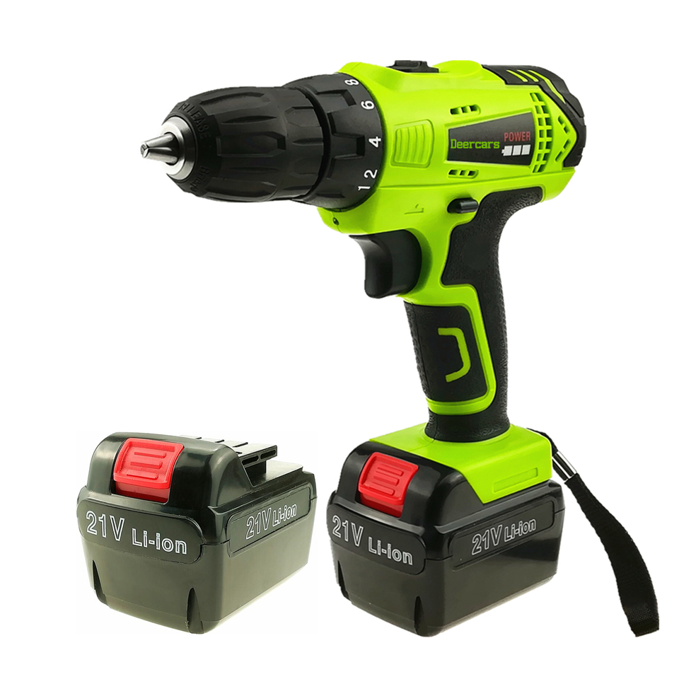 цена на 21v Cordless Screwdriver Household Power Tools Rechargeable Electric Drill Two Lithium Battery Parafusadeira Furadeira Tools
