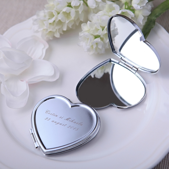 50pcs Personalized Bridal Shower Gift Heart Mirror Favor With Bride Groom Name Date