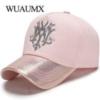 Wuaumx 2018 новый фирменный Бейсбол Кепки s для Для женщин Кепки розовый кости Snapback хип-хоп Lady Блестки casquette Прямая доставка
