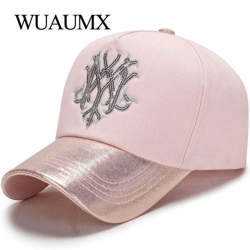Wuaumx 2018 NEW Branded   Baseball     Caps   For Women Women's   Cap   Pink Bone Snapback Hip Hop Lady Sequins casquette Drop Shipping