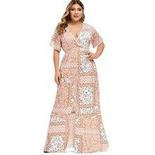 Floral Print Maxi Dress Summer Women Vintage Dress Sexy Casual High Waist Slit Holiday Plus Size Boho Dress Vestidos Robe Femme