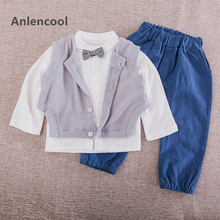 Anlencool High-quality spring of  new children's clothing wholesale casual shirt vest boy cotton three piece suit baby boys sets